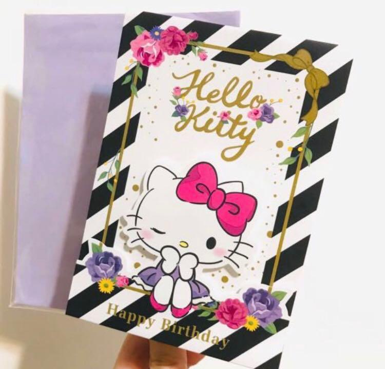 SANRIO HELLO KITTY FLORAL HAPPY BIRTHDAY CARD 立體閃粉生日卡 賀卡 禮福咭