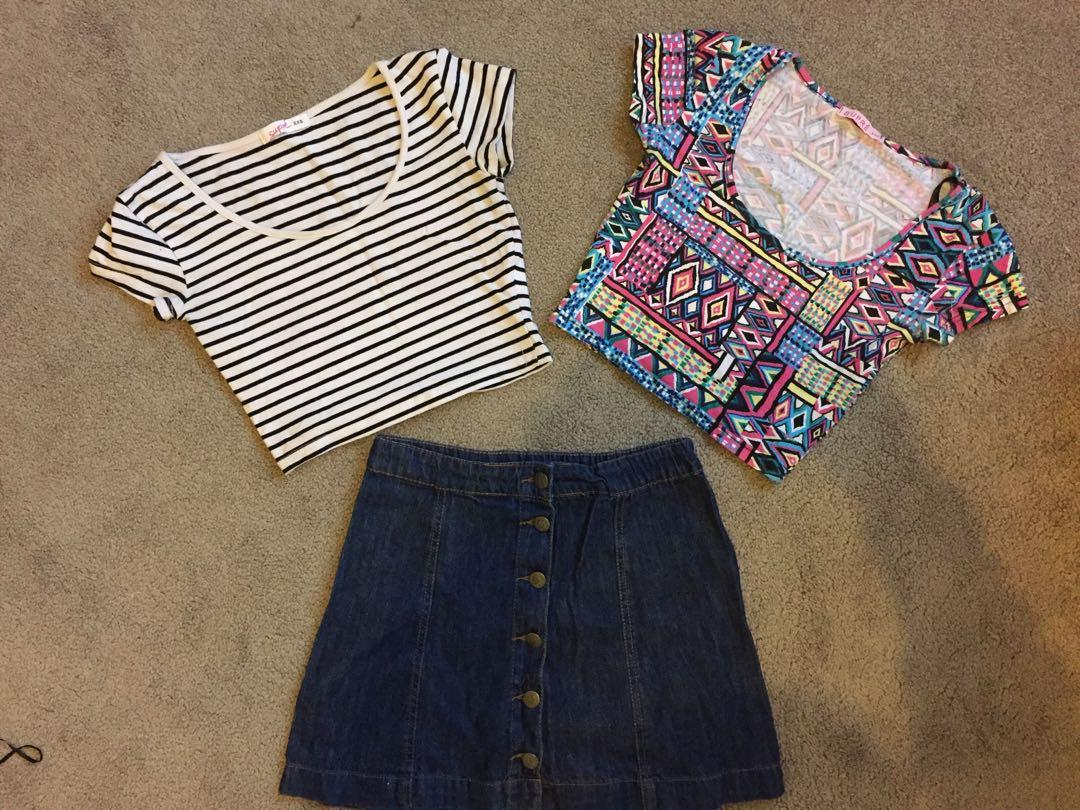 Size 6 free postage summer bundle crop top denim skirt ,