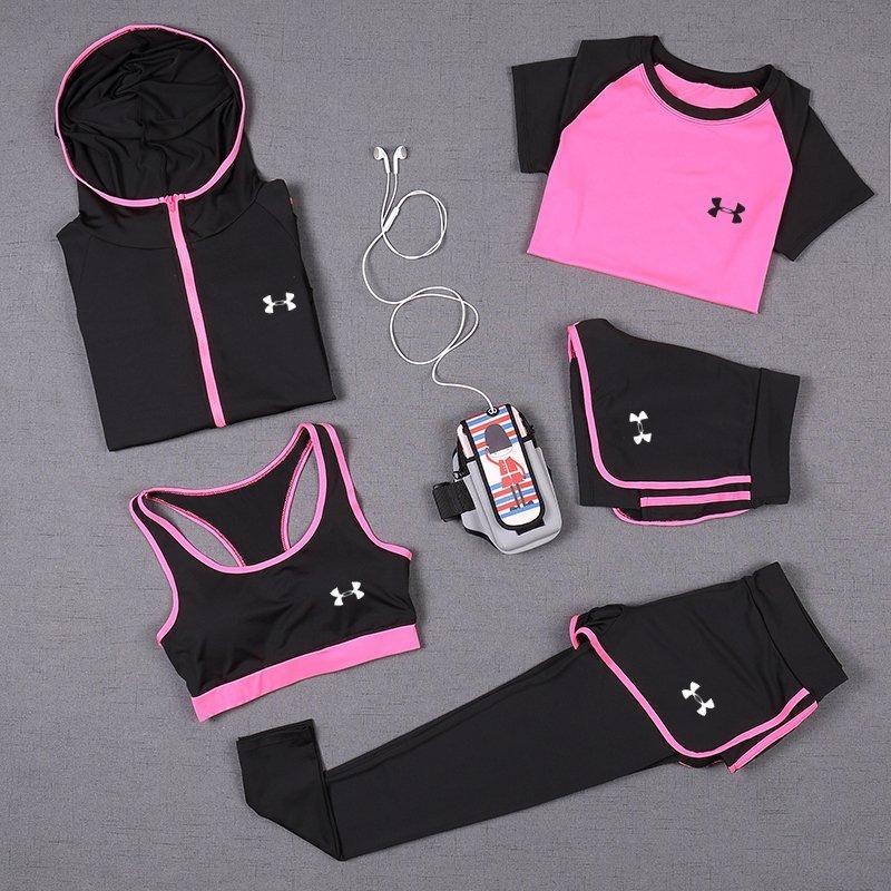 UA安德瑪運動套裝 五件套 瑜伽套裝 健身房 速幹衣 圓領短袖T恤+運動背心+連帽外套+假兩件緊身褲 +三分短褲 吸濕