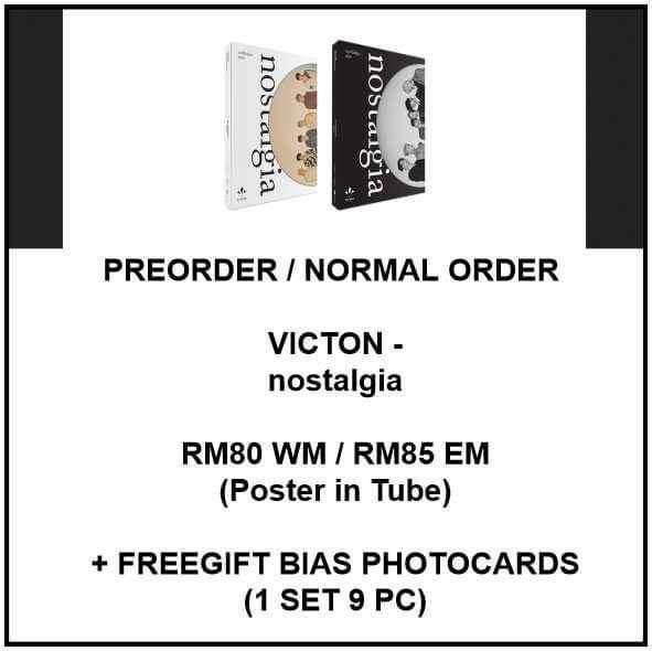 VICTION - nostalgia - PREORDER/NORMAL ORDER/GROUP ORDER/GO + FREE GIFT BIAS PHOTOCARDS (1 ALBUM GET 1 SET PC, 1 SET GET 9 PC)