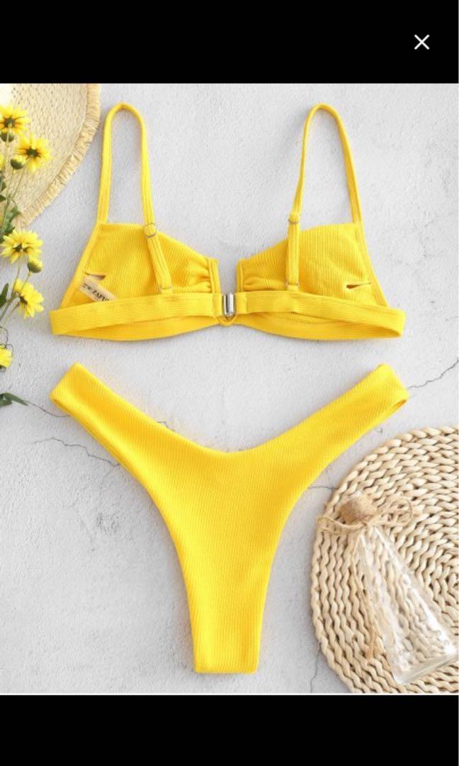 ZAFUL Ribbed V Wired High Leg Bikini Set Bright Yellow Size S