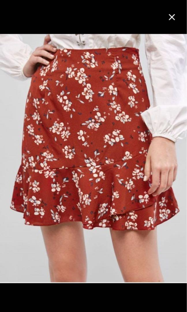 ZAFUL Ruffle Layer Floral A Line Mini Skirt Red Size S