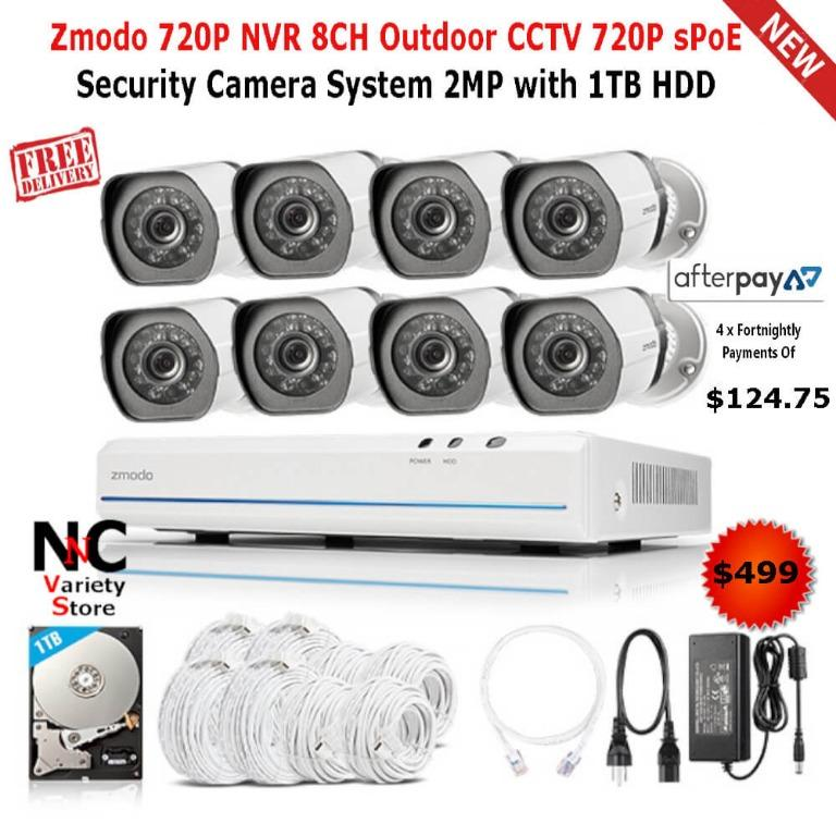 Zmodo 720P NVR 8CH Outdoor CCTV 720P sPoE Security Camera System 2MP with 1TB HDD