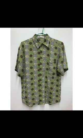 古著上衣 圖騰綠色襯衫