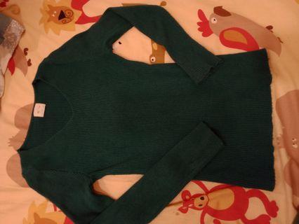 綠色合身毛衣