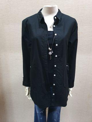 ZAAL 正韓品牌 簡約 黑色 100%Cotton 襯衫式長袖外套F
