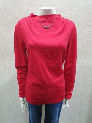 A/X Armani exchange 品牌正品樣品混羊毛 漂亮紅色長袖上衣s~m