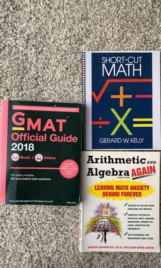GMAT Official Guide and math textbooks