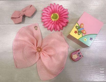 🌸 Sweet Pink Bundle for girl 甜甜粉紅女孩蝴蝶結髮飾包