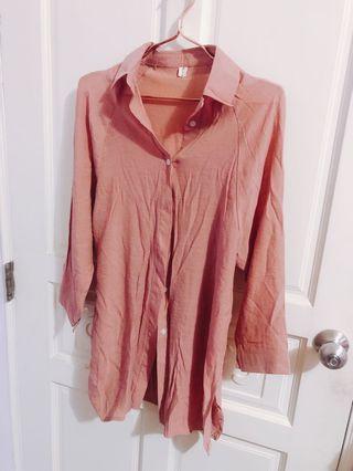 (任2件免運)柔感長版上衣襯衫 粉 全新 寬鬆 可當罩衫外套 門市價$490