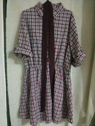 復古紅黑格紋裙(附綁帶)