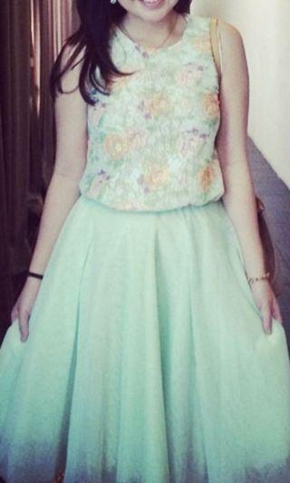 1 setel dress (skirt n top) mint , tutu.