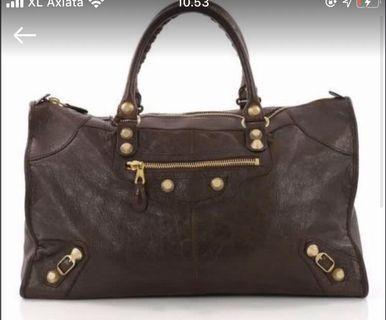 authentic balenciaga work bag -brown ghw