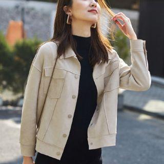杜鵑2019秋裝新品女士質感仿麂皮上衣夾克短外套28943
