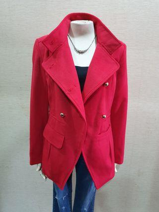 Zara 品牌 秋冬 立領 質感 毛尼 漂亮紅色 長袖外套L