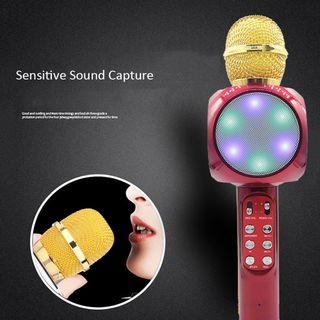 WS1816 Karaoke KTV Portable Wireless Bluetooth Microphone Music LED USB Speaker
