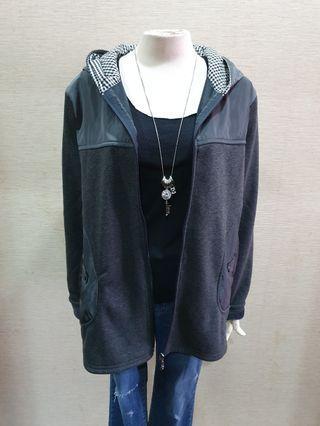 Magic 品牌韓版 秋冬柔軟彈性內刷毛 拼接質感長袖連帽外套