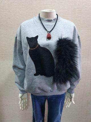 正韓 可愛貓咪 毛毛裝飾 造型 內刷毛 長袖棉T F