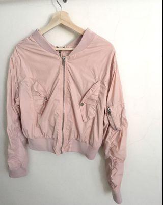 [Free shipping] pastel pink crop two way bomber jacket