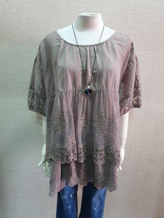 日本品牌 質感布蕾絲拼接 棉麻寬鬆短袖上衣F