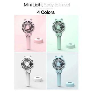 YW1812 Portable Rechargeable Bear Hand Fan Desk Mobile Phone Stand Holder Adjustable Speed Cooling