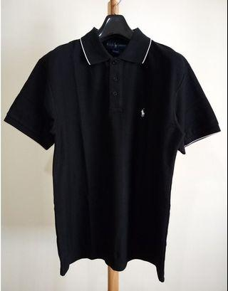 POLO Ralph Lauren 美國製 黑滾白邊 小馬刺繡 三扣網眼素面 polo衫