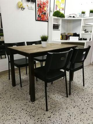 Wood Dining table wood with 4 IKEA HERMAN chair