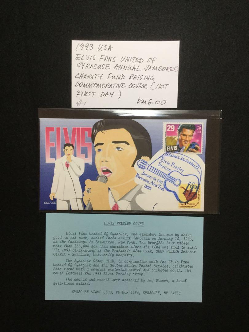 1993 USA  Elvis Fans United Of Syracuse Annual Jamboree Charity Fund Raising Commemorative Cover (Not First Day)