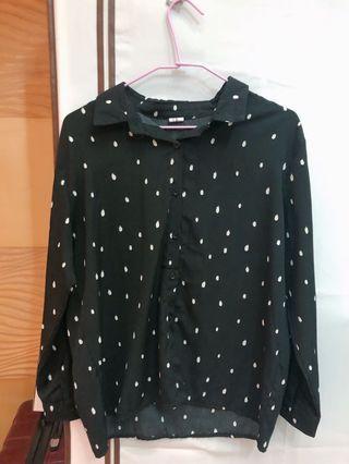 韓系雪紡水滴點點襯衫