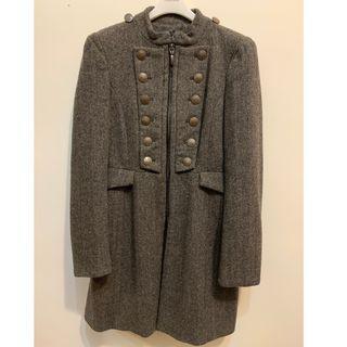 ZARA軍裝風格挺版毛呢長大衣