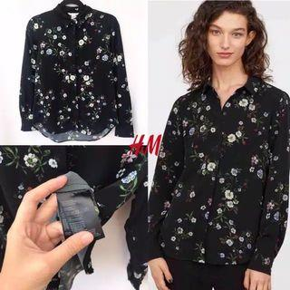 [NEW] Kemeja H&M Hitam Floral Motif Bunga