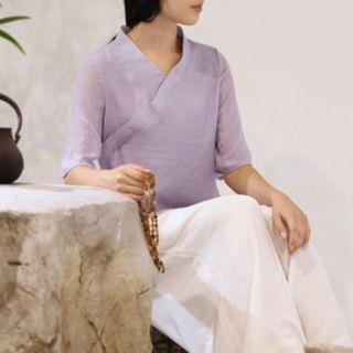 藍/紫  清新文藝復古禪意簡約漢服 交領漢服 改良漢服 絲棉漢服中式上衣