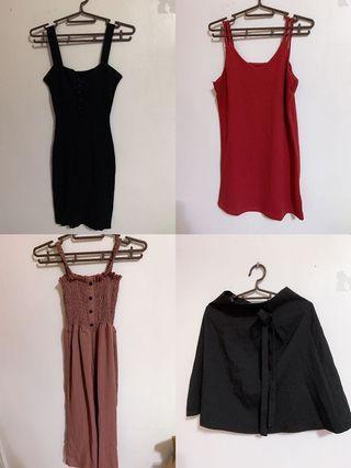 綁帶中長裙/吊帶裙子/連身洋裝 一件180