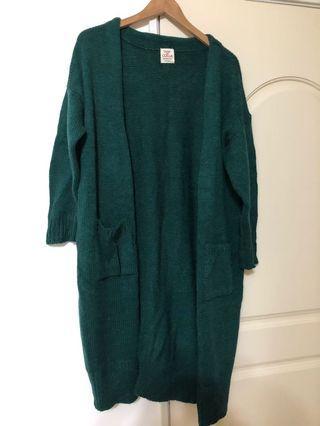 紮實綠色 針織長版外套