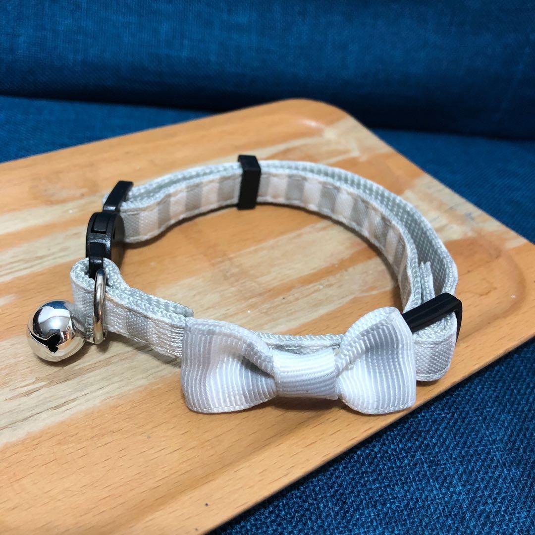 氣質款寵物灰白條紋安全扣項圈