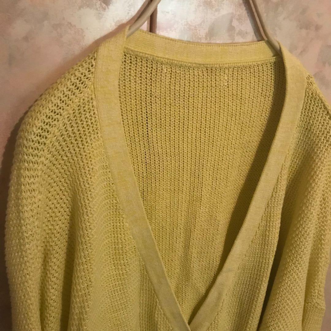 淡黃色針織外套罩衫