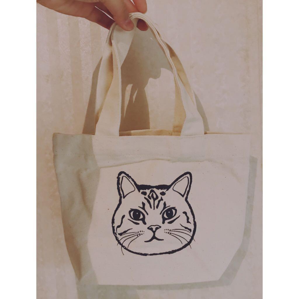 貓咪圖案麻料小手提包