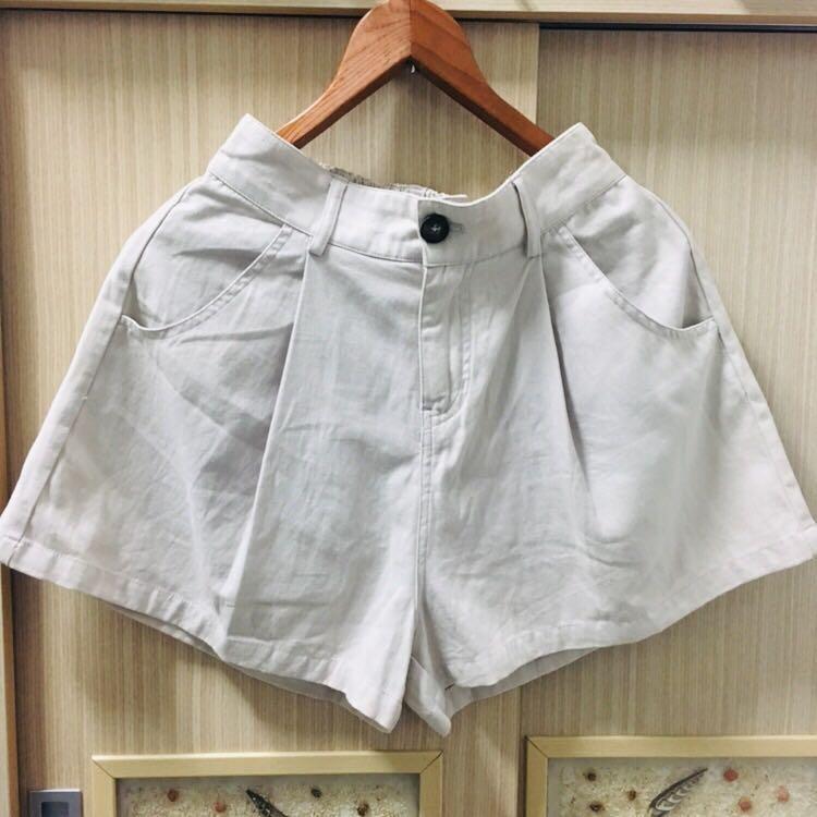 韓 顯瘦棉麻灰杏色短褲