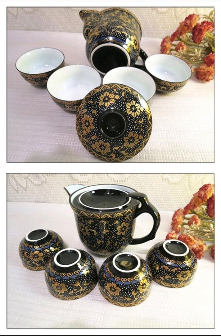 全新 台灣丞漢 黑珍珠金盞花茶具組 1壺+4杯 茶具組 泡茶組 陶瓷茶壺 杯子 茶壺 茶杯