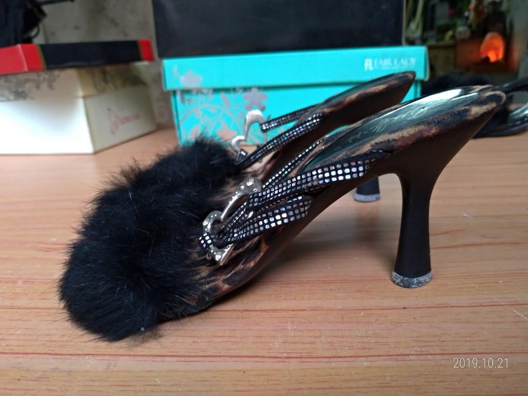 土城寶店 日本製 潮鞋 黑色 豹 高跟鞋 S