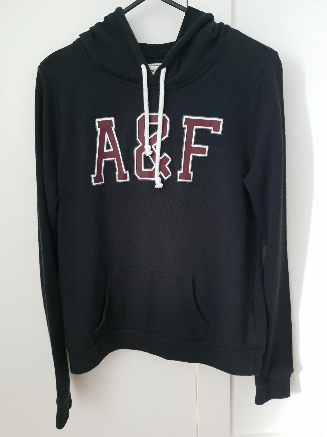 Abercrombie and Fitch navy blue logo hoodie / pullover