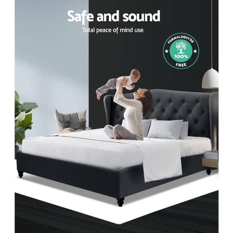 Artiss Double Full Size Bed Frame Base Mattress Platform Fabric Wooden Charcoal PIER
