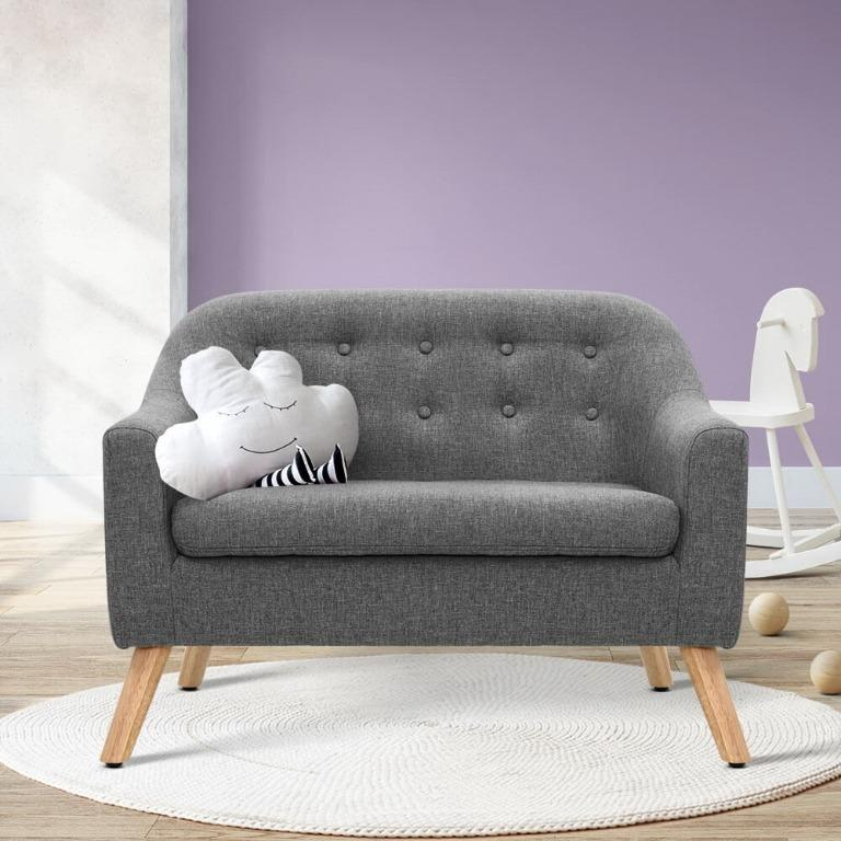 Artiss Kids Sofa Armchair Lounge Chair Chairs Children Couch Double Fabric Grey