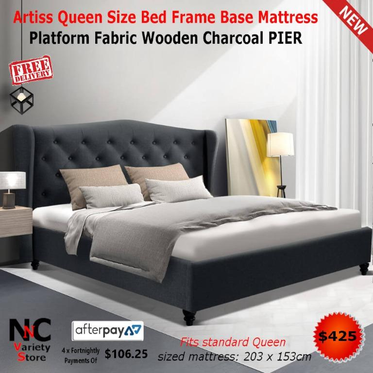 Artiss Queen Size Bed Frame Base Mattress Platform Fabric Wooden Charcoal PIER