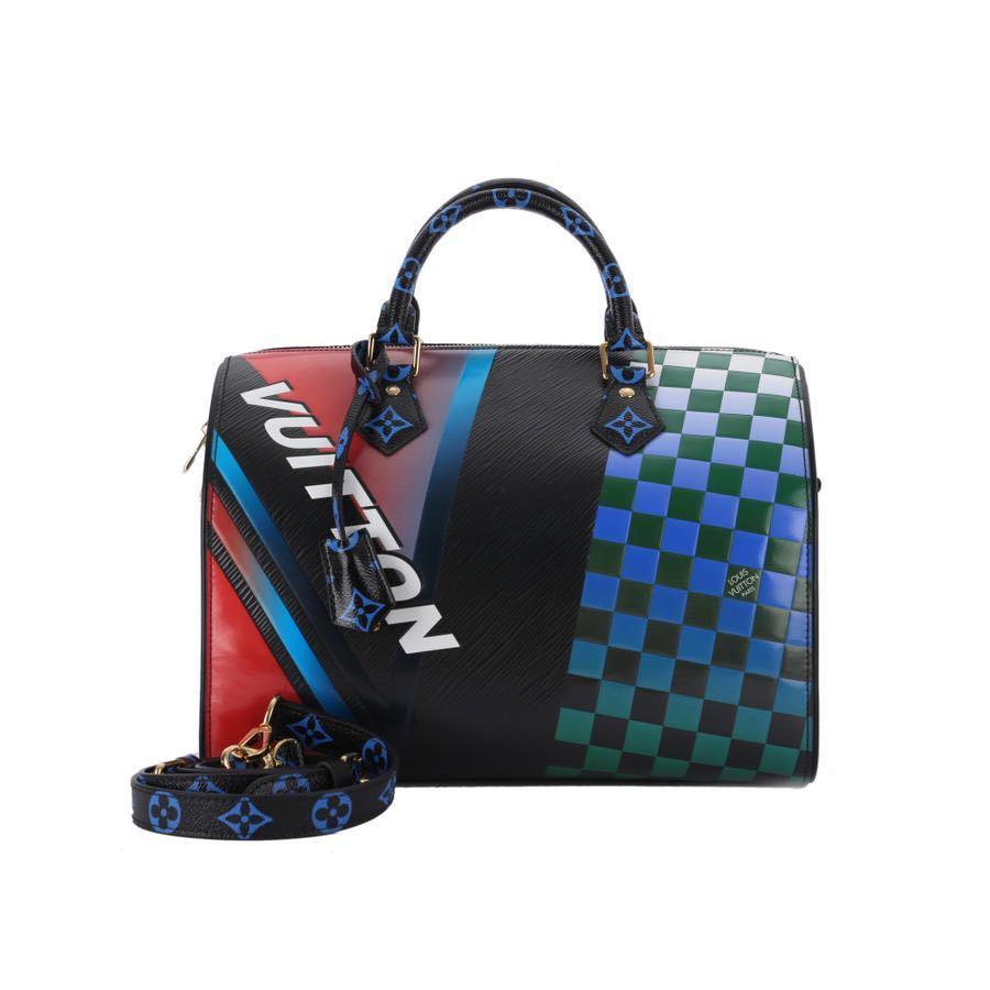 Authentic Pre-loved Louis Vuitton Speedy Bandoulière Epi Damier Race 30 Noir Rouge