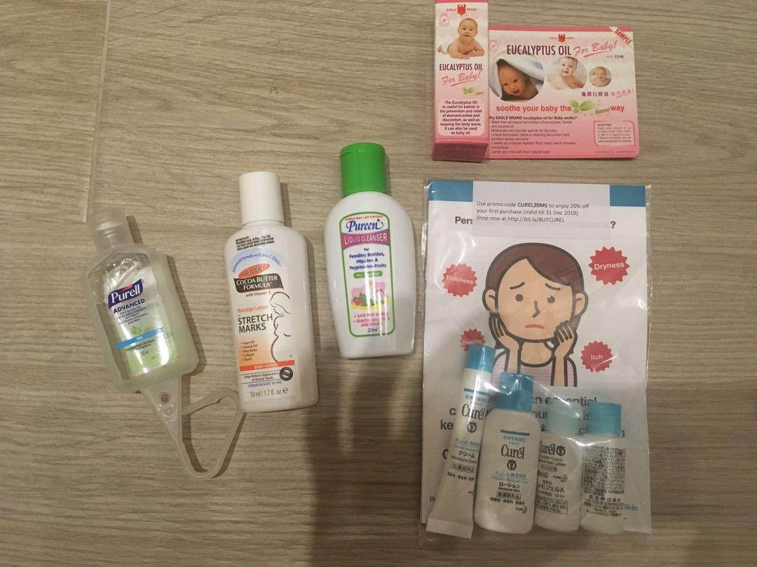Baby and Mom essentials brand new ! Burt's bees bodysuit , Mothercare mittens, Drypers Huggies diapers, thermos, wet bags, diaper cream, pillow, Curel face care, Palmer's cocoa butter, Purcell sanitizer, Pureen etc. Free canvas tote bag!
