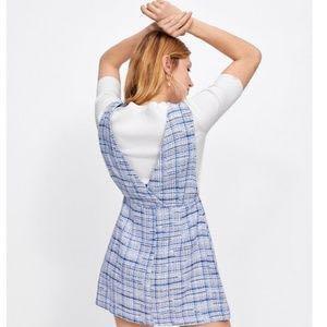 BNWOT ZARA Deep V Neckline Blue & White Tweed Mini Dress - Size XS/S - RRP USD$75