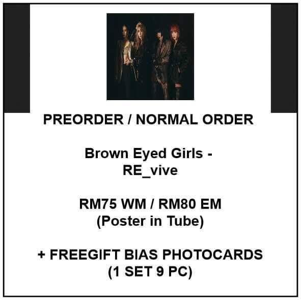 Brown Eyed Girls - RE_vive - PREORDER/NORMAL ORDER/GROUP ORDER/GO + FREE GIFT BIAS PHOTOCARDS (1 ALBUM GET 1 SET PC, 1 SET GET 9 PC)