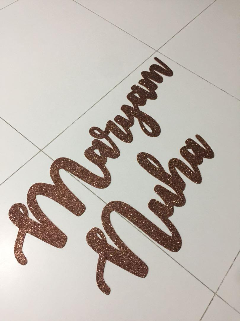 Calligraphy name cut out