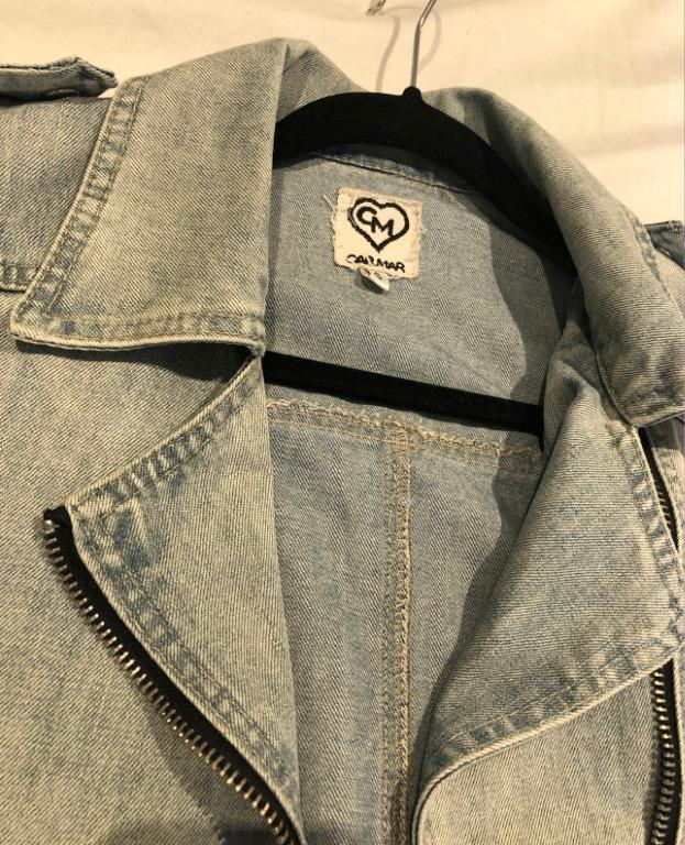 CARMAR Denim Jacket w/ Pleather Sleeves SIZE SMALL